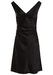 Diane Von Furstenberg Woman Zora Ruched Crystal-embellished Satin Mini Dress Black