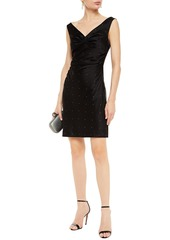 Diane Von Furstenberg Woman Zora Ruched Crystal-embellished Satin Mini Dress Black