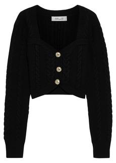 Diane Von Furstenberg Woman Zoya Cropped Cable-knit Merino Wool-blend Cardigan Black