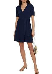 Diane Von Furstenberg Woman Zyla Ribbed And Stretch-knit Mini Wrap Dress Navy