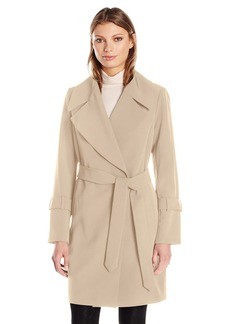 Diane von Furstenberg Women's Haley Wrapped Coat with Tie Belt and Large Collar  M
