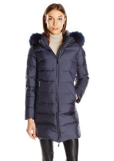 Diane von Furstenberg Women's Libby Long Coat with Hide Away Raccoon Collar  L