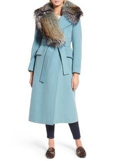 Diane von Furstenberg Wool Blend Coat with Removable Genuine Fox Fur Collar