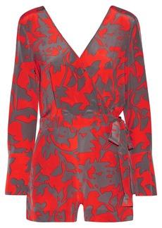 Diane von Furstenberg Wrap-effect printed silk crepe de chine playsuit