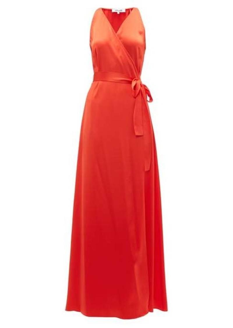 Diane Von Furstenberg Wrap-front charmeuse maxi dress