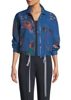 Diane von Furstenberg Zip-Front Floral-Print Bomber Jacket