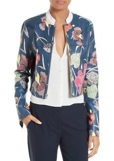 Diane von Furstenberg Zip Front Print Leather Jacket