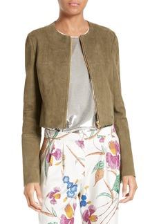 Diane von Furstenberg Zip Front Suede Jacket