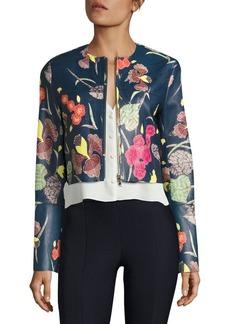 Diane von Furstenberg Zip Up Cropped Leather Jacket