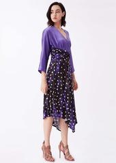 Diane Von Furstenberg Doris Silk & Jersey Belted Dress in Canvas Chariote Purple