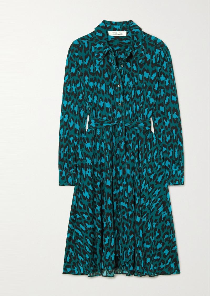 Diane Von Furstenberg Dory Belted Leopard-print Stretch-jersey Dress