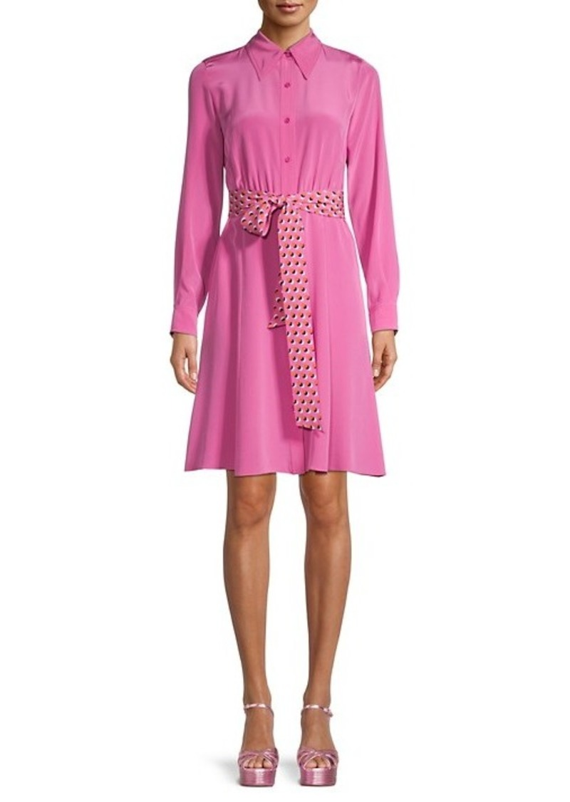 Diane Von Furstenberg Dory Mallow Silk Shirtdress