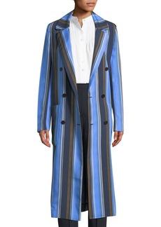 Diane Von Furstenberg Double-Breasted Striped Silk Long Jacket
