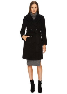 Diane Von Furstenberg Double Breasted Tie Waist Wool Coat