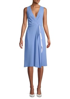 Diane Von Furstenberg Drape Faux Wrap Knee-Length Dress