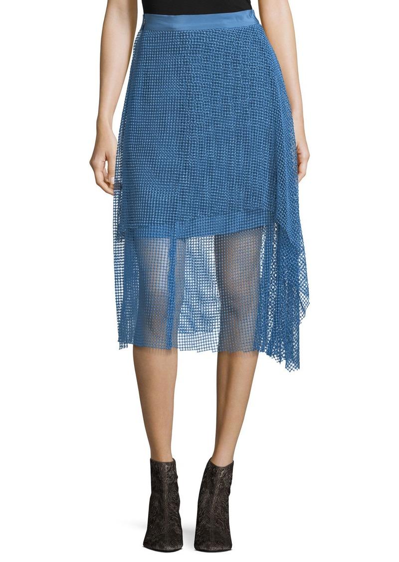 Diane Von Furstenberg Draped Lace A-Line Midi Skirt