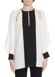 Diane Von Furstenberg DVF Aime Cutout Silk Blouse