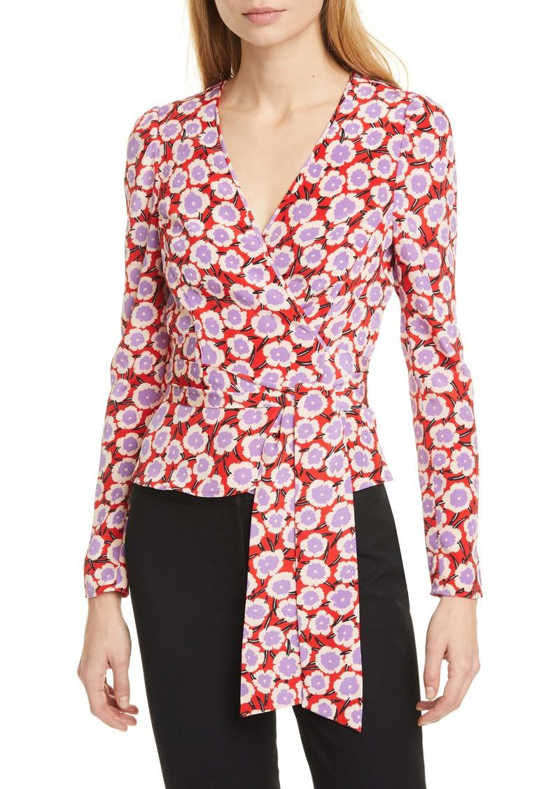 Diane Von Furstenberg DVF Alexia Floral Silk Wrap Blouse
