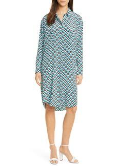 Diane Von Furstenberg DVF Aliana Geo Print Long Sleeve Silk Shirtdress