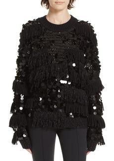 Diane Von Furstenberg DVF Alix Fringe & Paillette Sweater