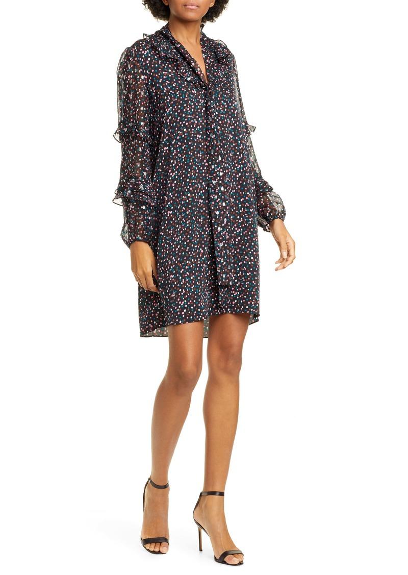 Diane Von Furstenberg DVF Amalie Confetti & Metallic Dot Long Sleeve Stretch Silk Chiffon Dress