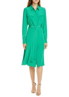 Diane Von Furstenberg DVF Antoinette Long Sleeve Silk Shirtdress