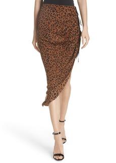 Diane Von Furstenberg DVF Asymmetrical Ruched Silk Jersey Skirt