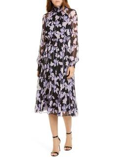 Diane Von Furstenberg DVF Athena Floral Long Sleeve Silk Georgette Dress