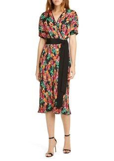 Diane Von Furstenberg DVF Autumn Floral Micropleat Short Sleeve Dress