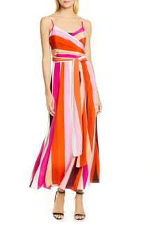 Diane Von Furstenberg DVF Azalea Stripe Silk Wrap Maxi Dress