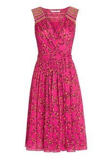 DVF Bali Embroidered Chiffon Wrap Dress
