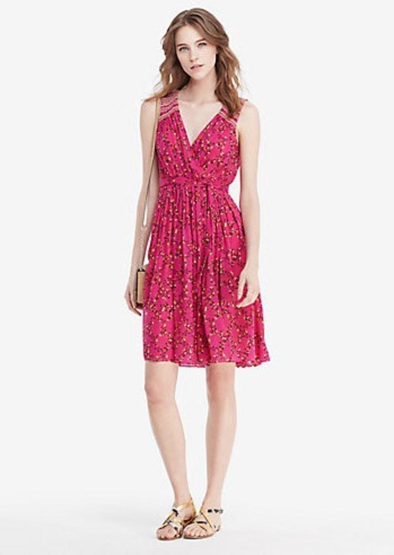 Diane Von Furstenberg DVF Bali Embroidered Chiffon Wrap Dress