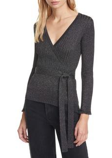 Diane Von Furstenberg DVF Beck Metallic Detail Long Sleeve Wool Blend Wrap Sweater
