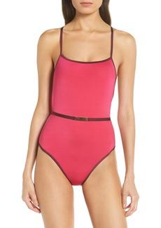 Diane Von Furstenberg DVF Belted One-Piece Swimsuit