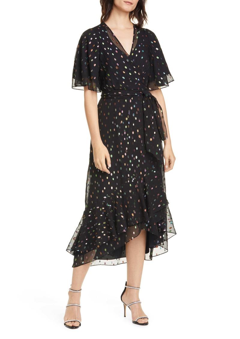 Diane Von Furstenberg DVF Berdina Fil Coupé High/Low Wrap Dress
