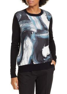 Diane Von Furstenberg DVF Bronson Brushstroke Print Silk & Wool Sweater