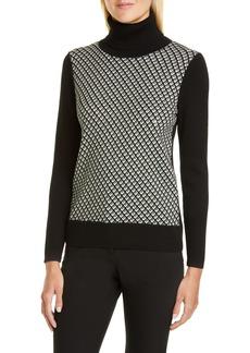 Diane Von Furstenberg DVF Bronwen Geo Print Wool Blend Turtleneck Sweater