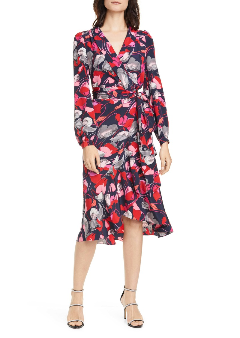 Diane Von Furstenberg DVF Carla Two Floral Long Sleeve Silk Wrap Dress