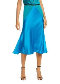 Diane Von Furstenberg DVF Carole Colorblock Satin Midi Skirt