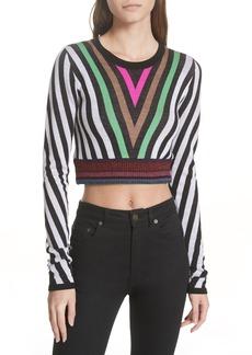 Diane Von Furstenberg DVF Chevron Crewneck Crop Sweater
