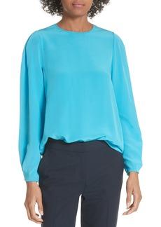 Diane Von Furstenberg DVF Cinched Sleeve Silk Blouse