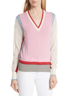 Diane Von Furstenberg DVF Colorblock Cotton Blend Sweater