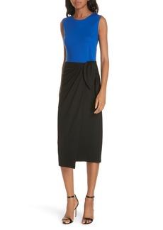 Diane Von Furstenberg DVF Colorblock Side Tie Wool Blend Sheath Dress