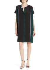 Diane Von Furstenberg DVF Colorblock Silk Shirtdress