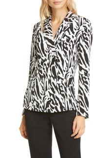 Diane Von Furstenberg DVF Courtney Animal Print Long Sleeve Silk Blouse