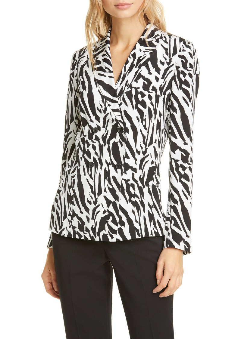 Diane Von Furstenberg DVF Courtney Animal Print Long Sleeve Silk Blouse