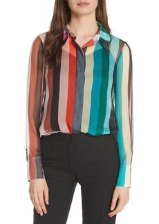 Diane Von Furstenberg DVF Crinkle Silk Chiffon Shirt