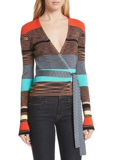 Diane Von Furstenberg DVF Crop Stripe Wrap Sweater