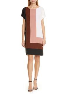 Diane Von Furstenberg DVF Danika Colorblock Silk Shift Dress