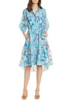 Diane Von Furstenberg DVF Davey Floral Print High/Low Shirtdress